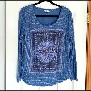 Lucky Brand Boho Hippie Lotus Long Sleeve Top Blue